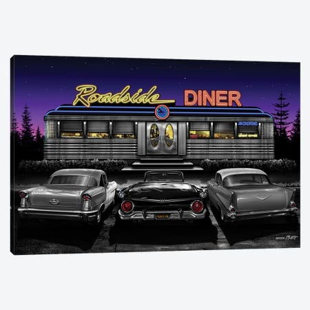 Roadside Diner II 3-Piece Canvas #HFL15} by Helen Flint Canvas Artwork