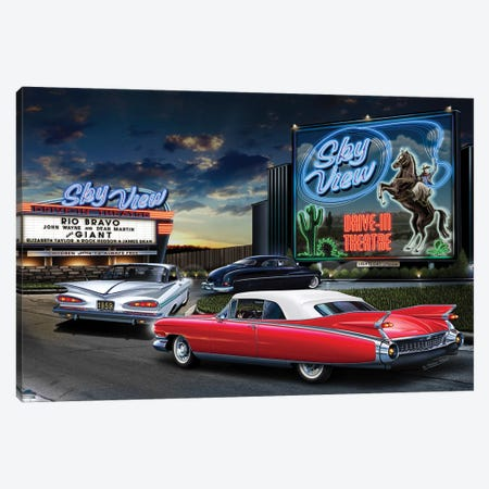Skyview Drive-In I Canvas Print #HFL17} by Helen Flint Canvas Wall Art