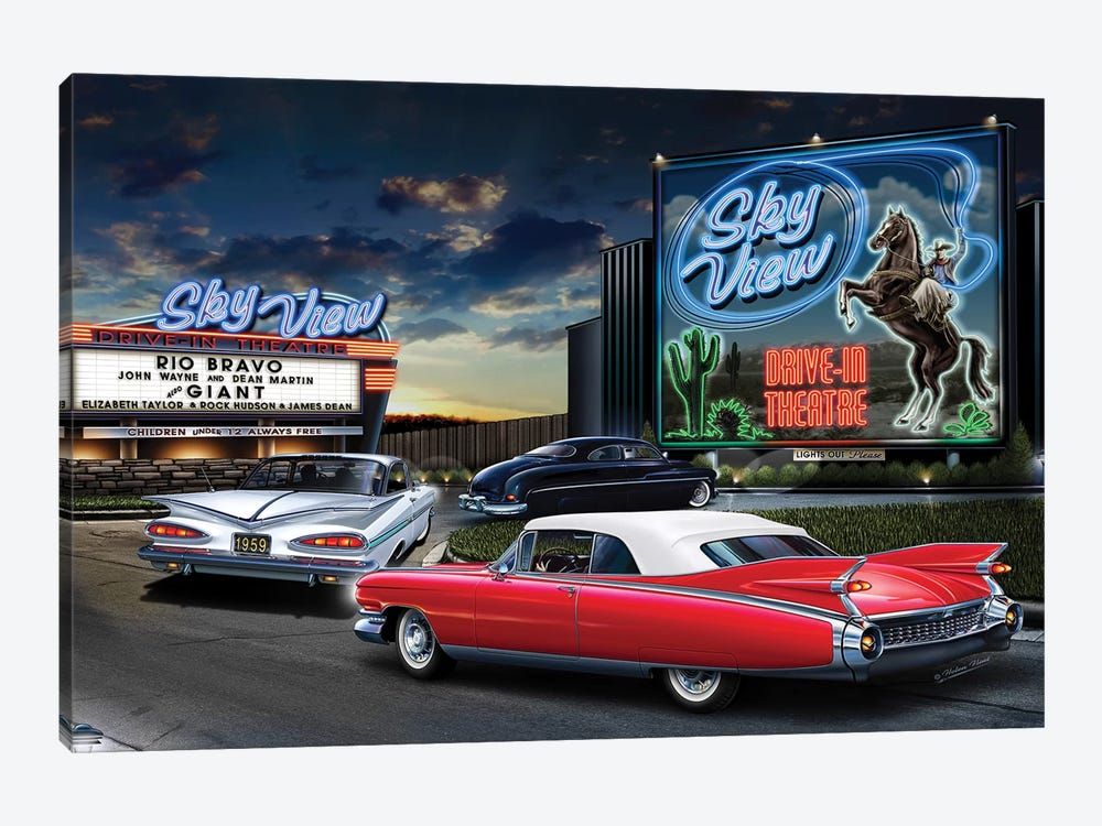 Skyview Drive-In I by Helen Flint 1-piece Canvas Wall Art