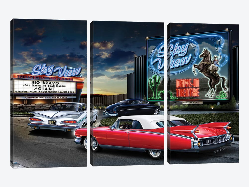 Skyview Drive-In I 3-piece Canvas Artwork