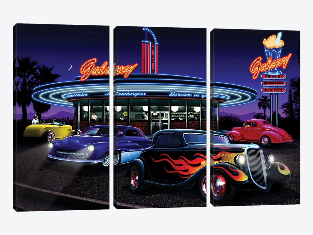 Galaxy Diner I by Helen Flint 3-piece Canvas Wall Art