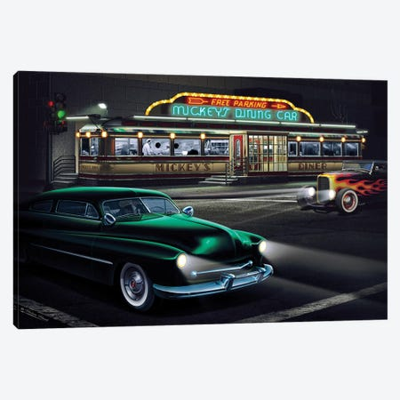 Mickey's Diner I 3-Piece Canvas #HFL9} by Helen Flint Canvas Artwork