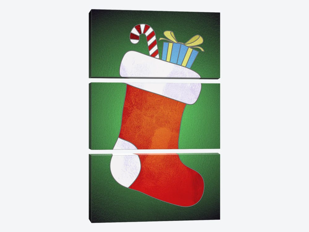 Festive Stocking by 5by5collective 3-piece Art Print