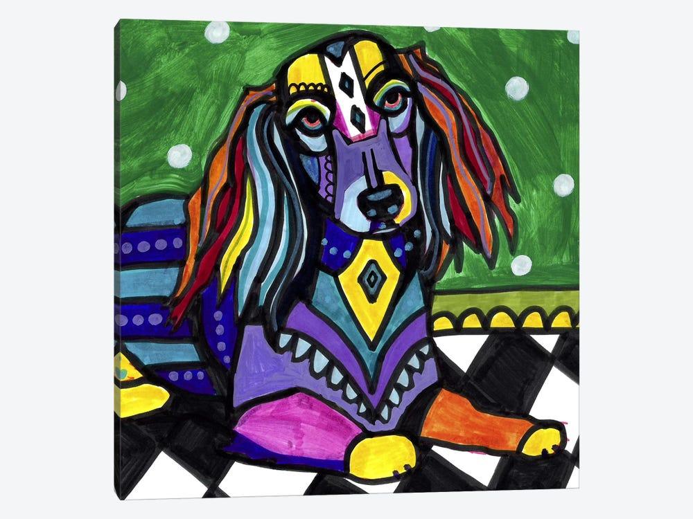 Dachshunds Longhair by Heather Galler 1-piece Canvas Print