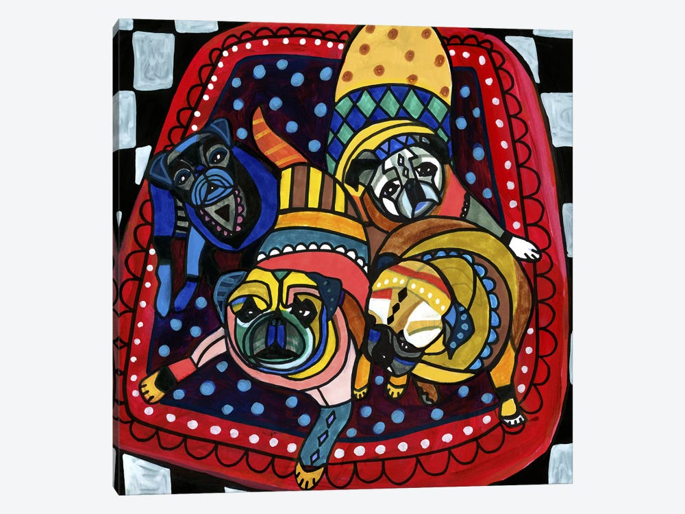 Pug Pugs 4 by Heather Galler 1-piece Canvas Print