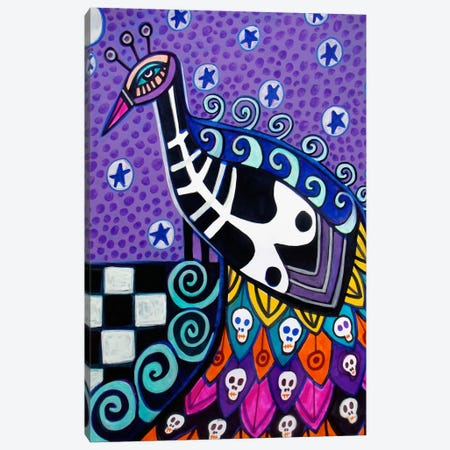 Day of the Dead Peacock Canvas Print #HGL4} by Heather Galler Canvas Artwork
