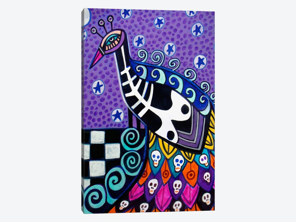 Day of the Dead Peacock by Heather Galler 1-piece Canvas Print