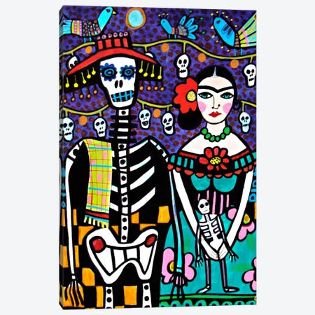 Day of the Dead Frida Canvas Print #HGL5} by Heather Galler Canvas Art