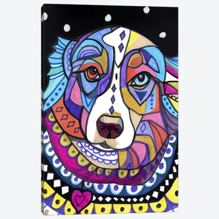 Australian Shepherd Shep Canvas Print #HGL65} by Heather Galler Canvas Wall Art