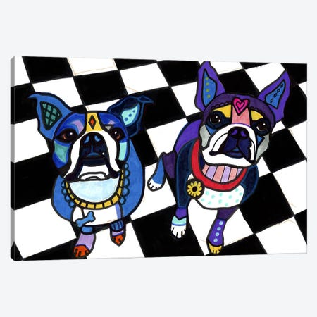 Boston Terriers 2 Dogs Canvas Print #HGL87} by Heather Galler Canvas Artwork