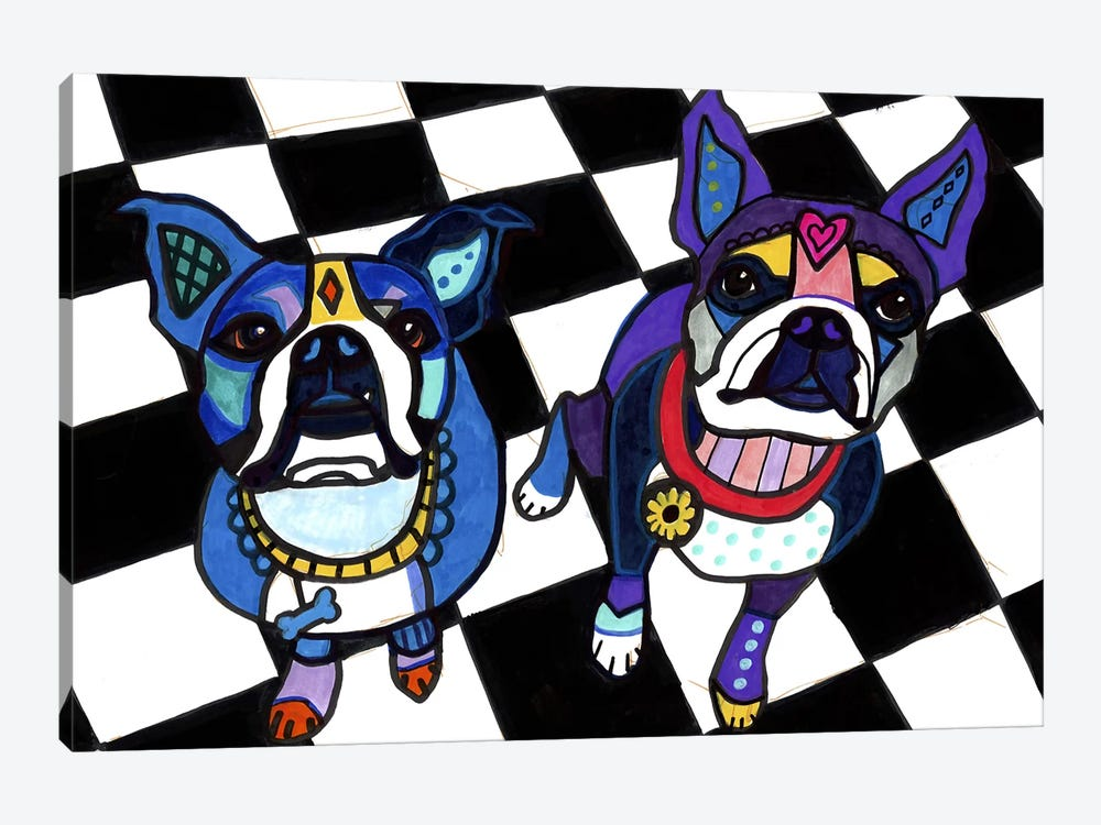 Boston Terriers 2 Dogs by Heather Galler 1-piece Art Print