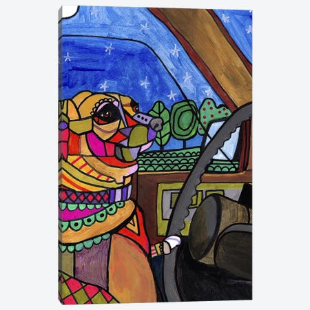Chihuahua Car Canvas Print #HGL94} by Heather Galler Art Print