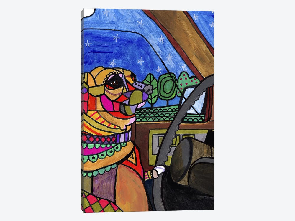 Chihuahua Car by Heather Galler 1-piece Canvas Art Print