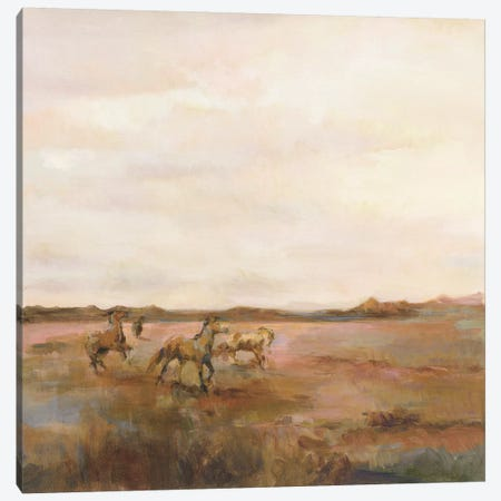 Mustangs Under Big Sky Warm Canvas Print #HGM10} by Marilyn Hageman Art Print