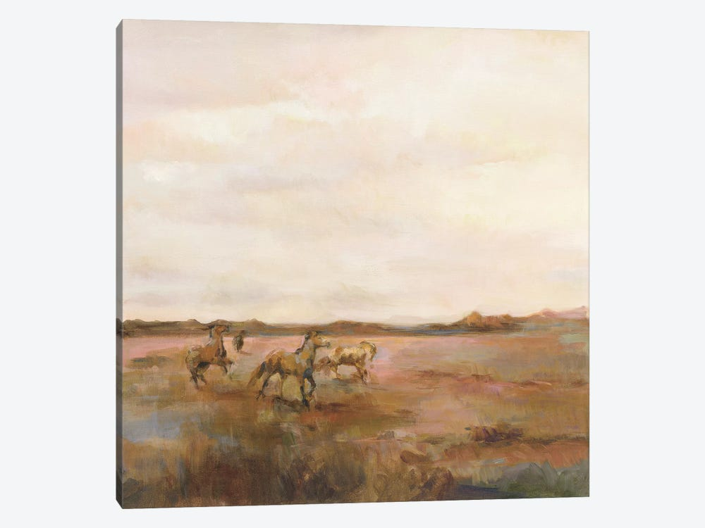 Mustangs Under Big Sky Warm 1-piece Canvas Artwork