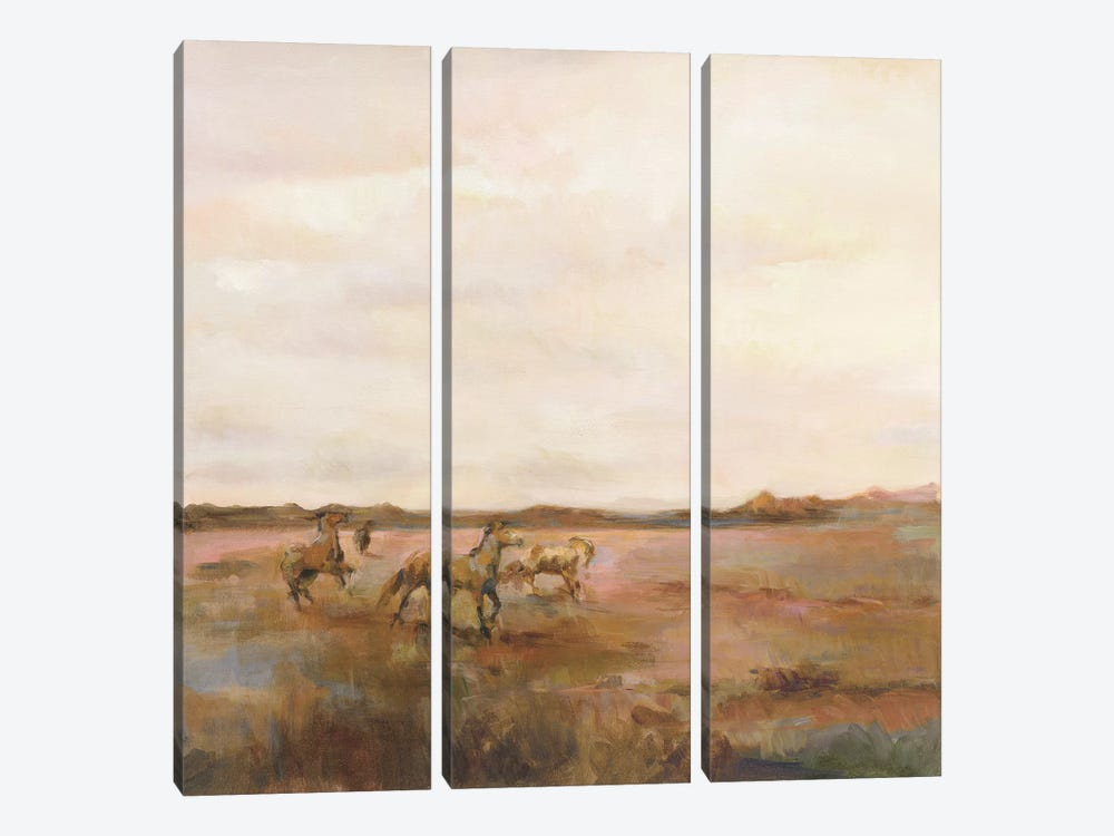 Mustangs Under Big Sky Warm 3-piece Canvas Wall Art