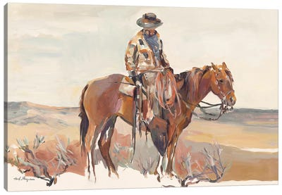 Western Rider Warm Canvas Art Print