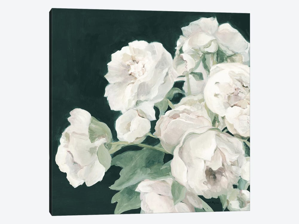 Peonies on Dark Green by Marilyn Hageman 1-piece Canvas Art Print