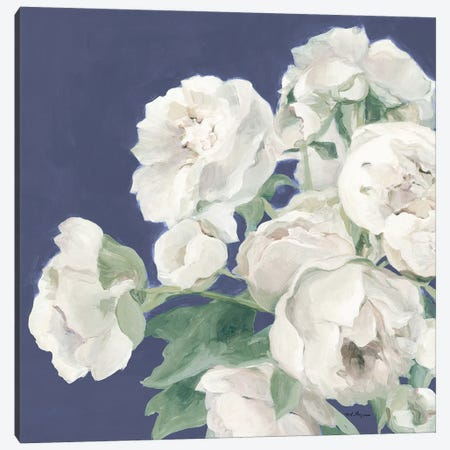 Peonies on Blue Indigo 3-Piece Canvas #HGM25} by Marilyn Hageman Canvas Print