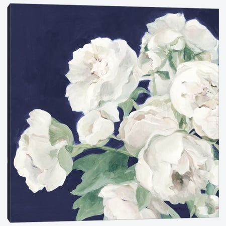 Peonies on Navy 3-Piece Canvas #HGM26} by Marilyn Hageman Art Print