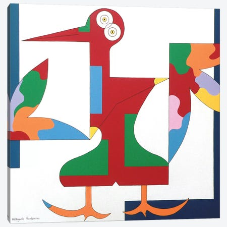 The Free Red Bird Canvas Print #HHA119} by Hildegarde Handsaeme Canvas Wall Art