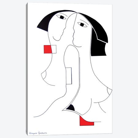 Univisie With Red Accent Canvas Print #HHA136} by Hildegarde Handsaeme Canvas Art Print