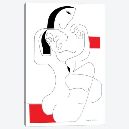 Le Calin with red accent Canvas Print #HHA167} by Hildegarde Handsaeme Canvas Wall Art