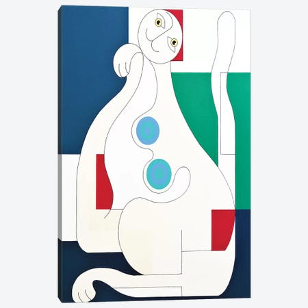 The Female Cat Canvas Print #HHA184} by Hildegarde Handsaeme Canvas Art