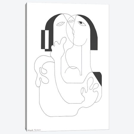 Un Baiser Canvas Print #HHA198} by Hildegarde Handsaeme Canvas Wall Art