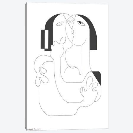 Un Baiser Canvas Print #HHA198} by Hildegarde Handsaeme Canvas Wall Art