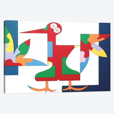 The Free Red Bird XL Canvas Print #HHA200} by Hildegarde Handsaeme Canvas Wall Art