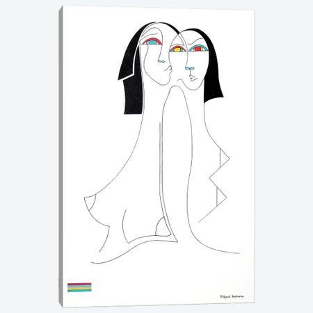 Les Inséparables Canvas Print #HHA201} by Hildegarde Handsaeme Canvas Wall Art