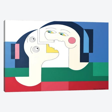 The Flying Lovers XL Canvas Print #HHA214} by Hildegarde Handsaeme Canvas Wall Art
