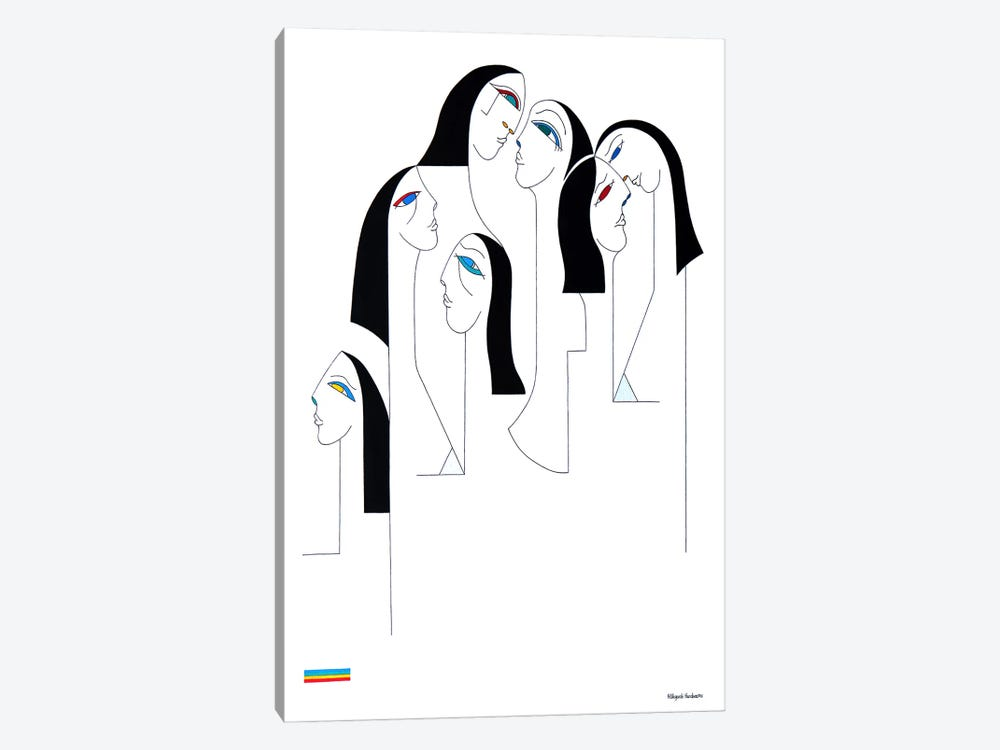 Les Religieuses Black And White by Hildegarde Handsaeme 1-piece Canvas Artwork