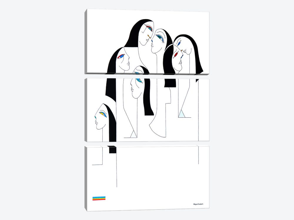 Les Religieuses Black And White by Hildegarde Handsaeme 3-piece Canvas Wall Art