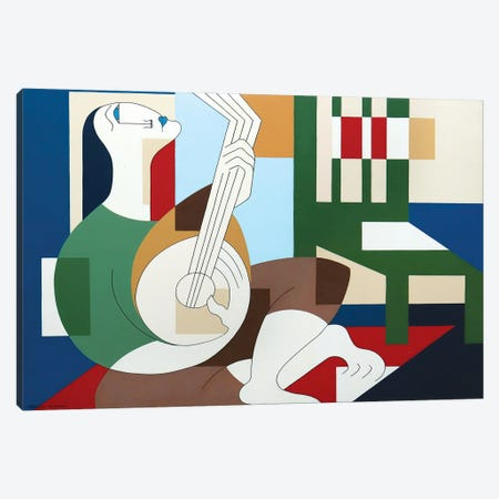 The Happy Banjoplayer Canvas Print #HHA220} by Hildegarde Handsaeme Canvas Wall Art