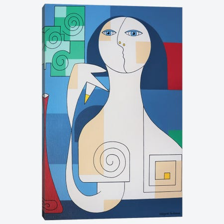 Fiori Verdi In Vasa Rosso Canvas Print #HHA35} by Hildegarde Handsaeme Canvas Wall Art