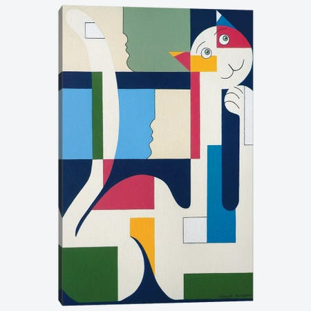 Happy Cat Canvas Print #HHA41} by Hildegarde Handsaeme Canvas Art