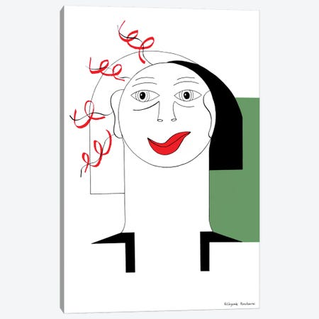 Red Curl With Green Canvas Print #HHA94} by Hildegarde Handsaeme Canvas Wall Art