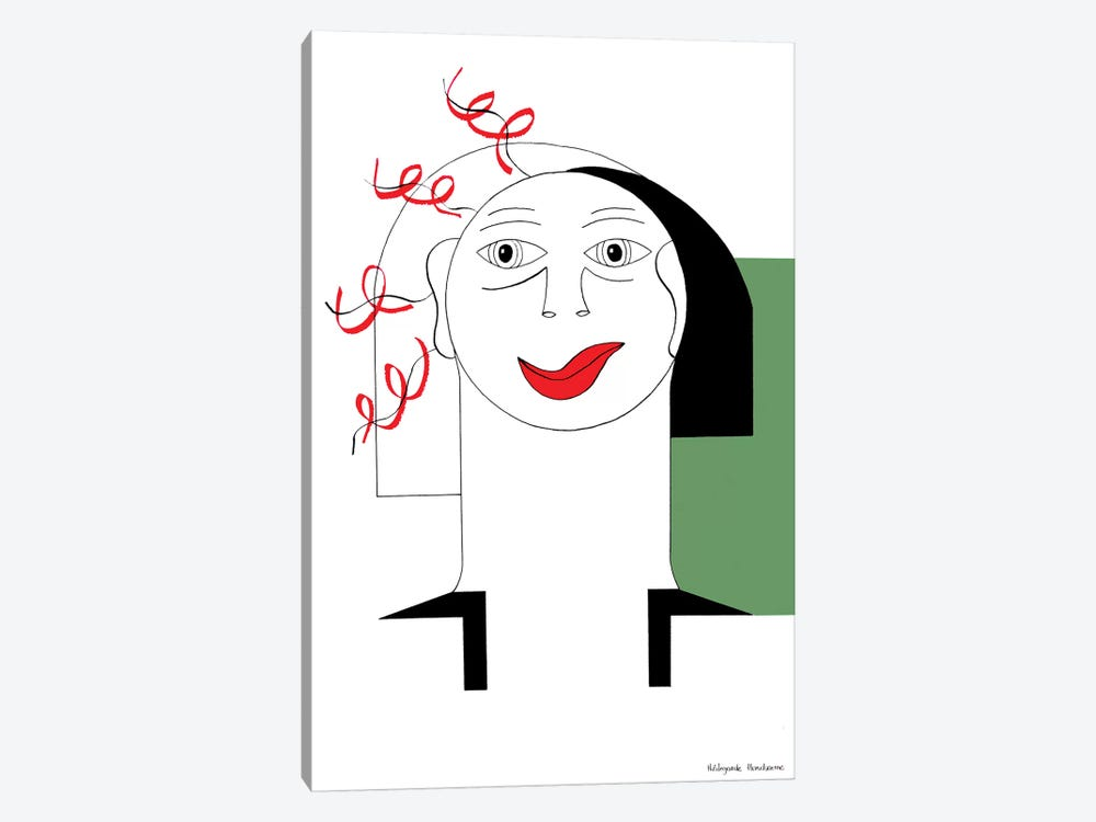 Red Curl With Green by Hildegarde Handsaeme 1-piece Canvas Print