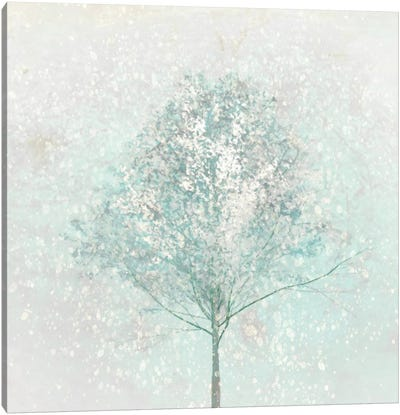 Little Blue Tree In Winter Canvas Art Print