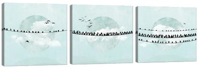 Birds On A Line In Blue Triptych Canvas Art Print