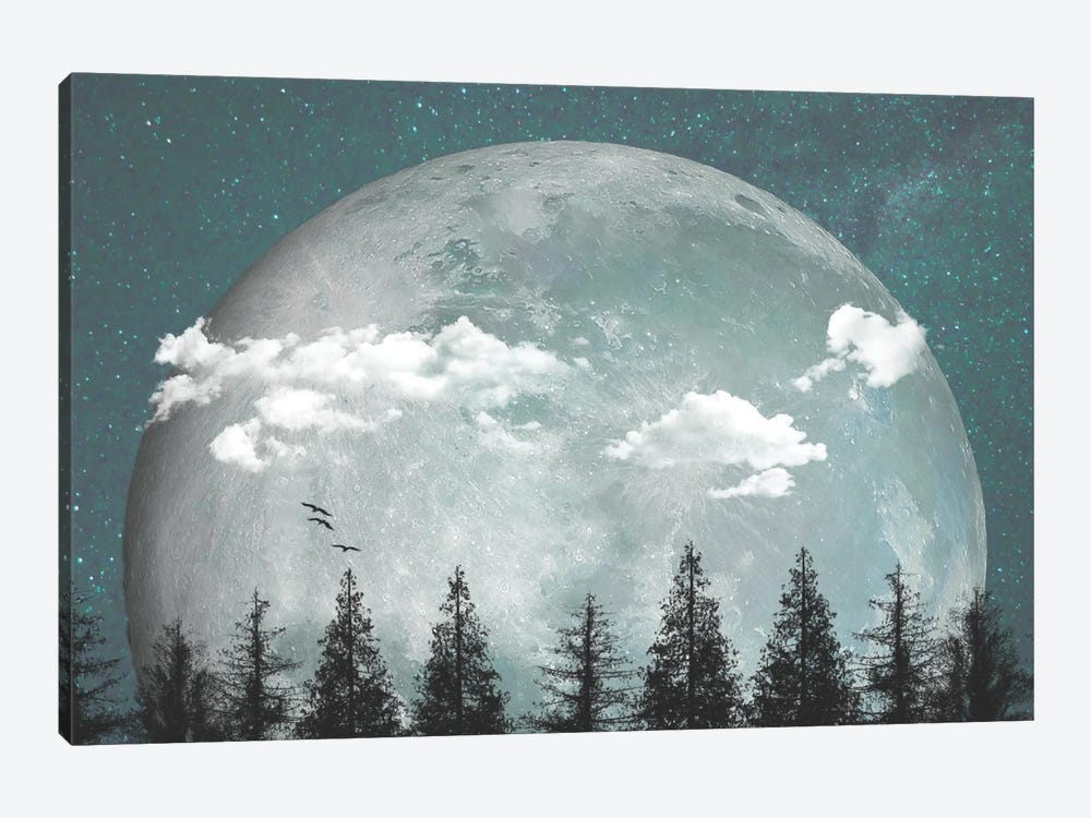 Big Moon Over Forest I by Halli Hal 1-piece Canvas Art
