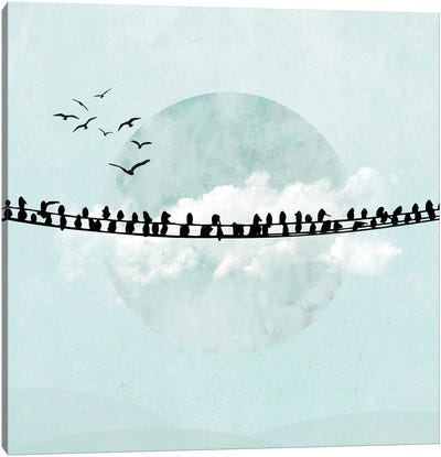 Birds On A Line In Blue II Canvas Art Print