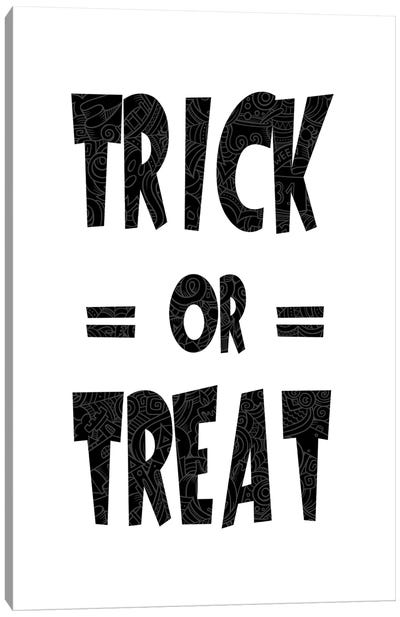 Trick Or Treat On B&W Canvas Art Print