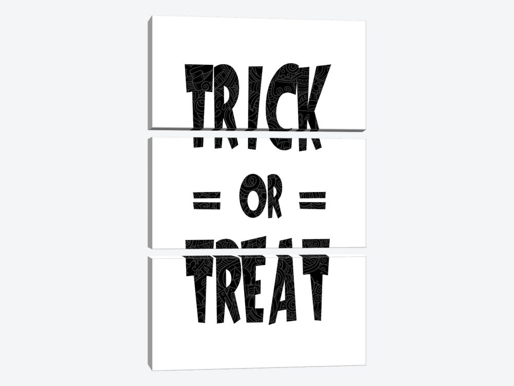 Trick Or Treat On B&W by 5by5collective 3-piece Canvas Art Print