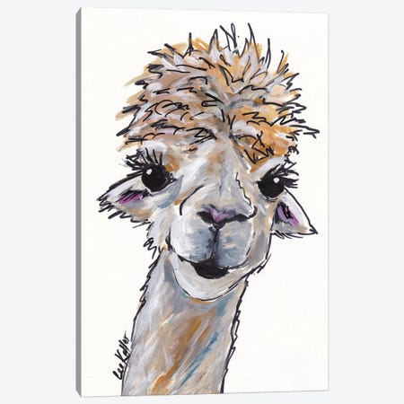 Angel The Alpaca Canvas Print #HHS108} by Hippie Hound Studios Canvas Art Print