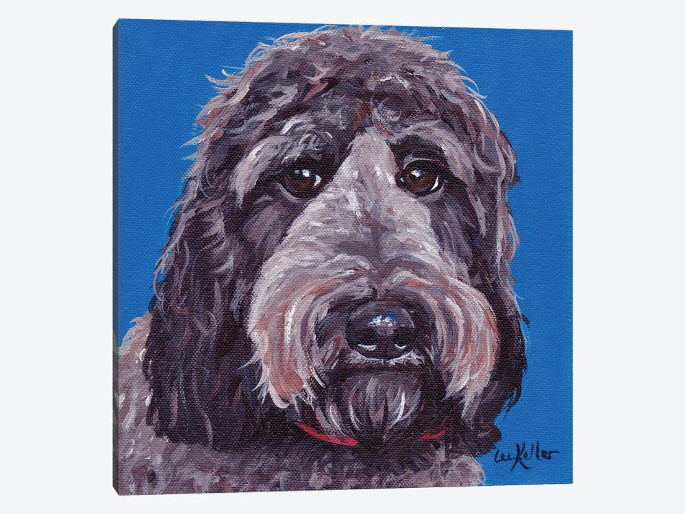 Black Labradoodle On Blue 1-piece Art Print
