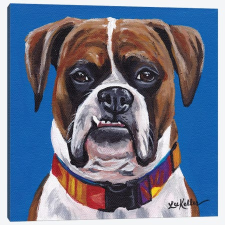 Boxer Blue Canvas Print #HHS110} by Hippie Hound Studios Canvas Art