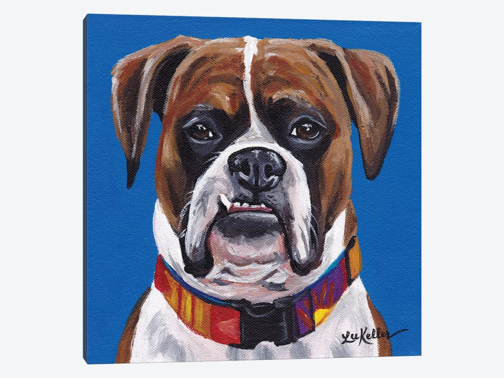 Boxer Blue by Hippie Hound Studios 1-piece Canvas Print
